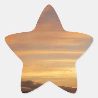 Tira de la puesta del sol calcomania forma de estrella