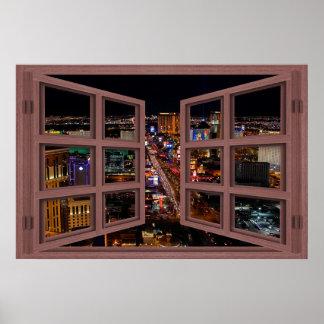 Tira de Las Vegas en el poster de la ventana abier