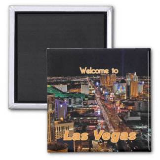 Tira de Las Vegas en la noche Imán Cuadrado