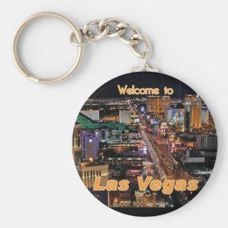 Tira de Las Vegas en la noche Llavero Redondo Tipo Pin