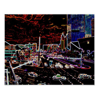 Tira de neón de Vegas Póster
