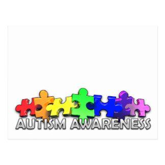 Tira del rompecabezas de la conciencia del autismo tarjeta postal
