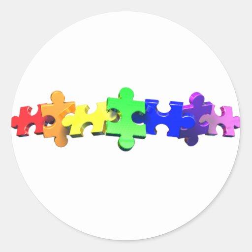 Tira del rompecabezas del autismo pegatina redonda