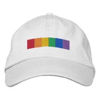 Tira gay de la bandera del orgullo del arco iris gorra bordada