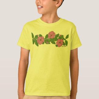 Tira salvaje de la flor de los rosas playera