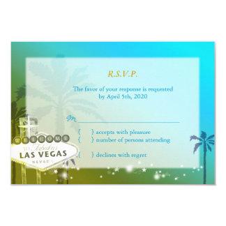 Tira tropical de Las Vegas que casa RSVP (3.5x5) Invitación 8,9 X 12,7 Cm