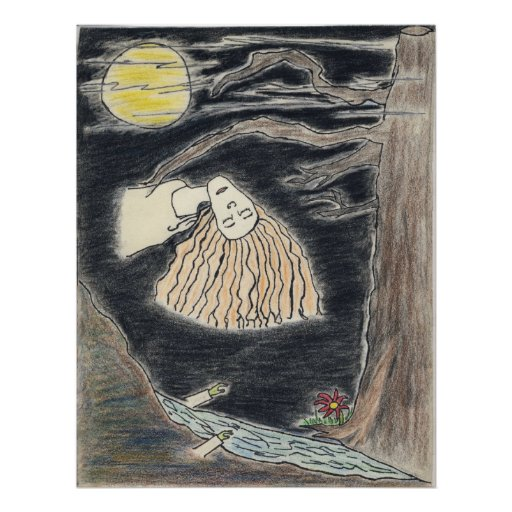 Tirada Swaim - mujer que flota en la noche Poster