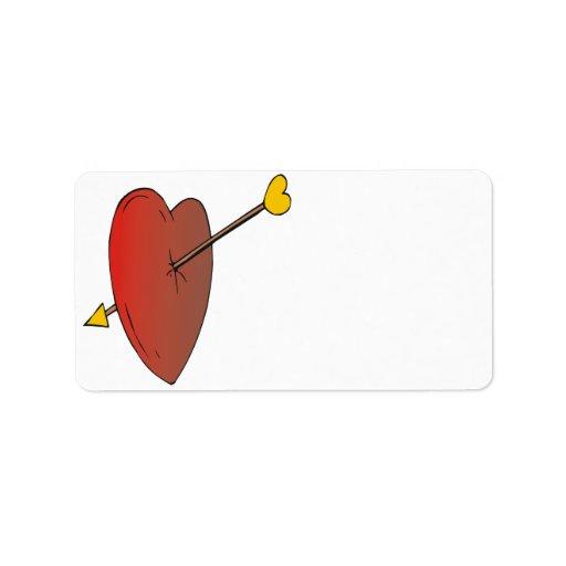 Tirado a través del corazón etiquetas de dirección