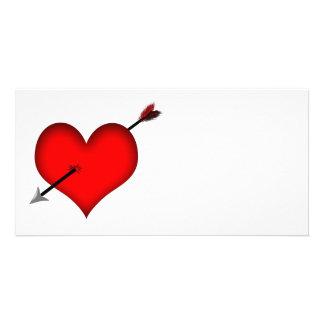 ¡Tirado a través del corazón! - Tarjeta de la foto Tarjeta Fotografica