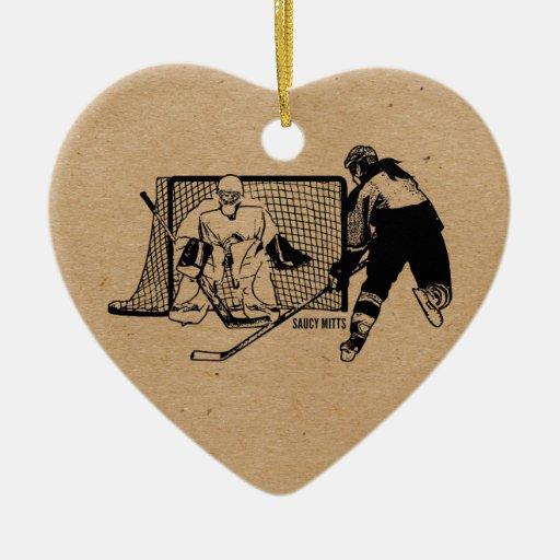 Tirado en el hockey neto (femenino) adorno de cerámica en forma de corazón