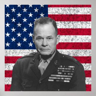 Tirador arrogante y la bandera americana póster