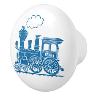 Tirador de encargo del arte del tren azul del pomo de cerámica