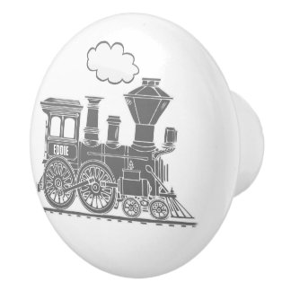 Tirador de encargo del arte del tren gris del pomo de cerámica
