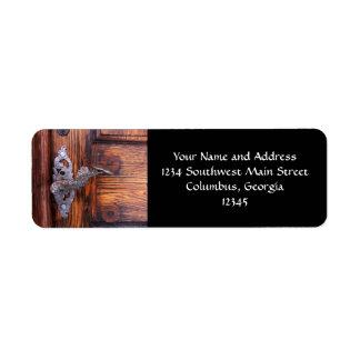 Tirador de puerta del vintage, propiedades inmobil etiqueta de remite