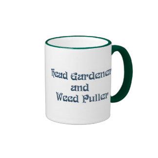 Tirador principal del jardinero y de la mala hierb tazas