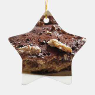 Tiramisu cake ceramic ornament