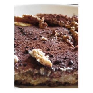 Tiramisu cake . Italian classical dessert Postcard