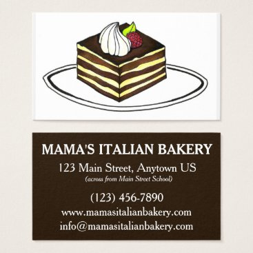 Beach Themed Tiramisu Dessert Italian Food Bakery Restaurant Business Card