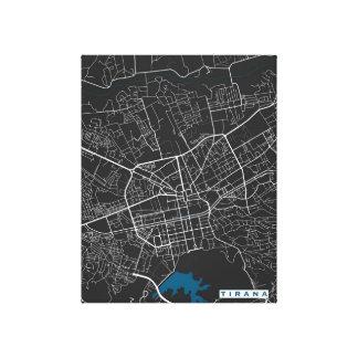 Tirana City Map Canvas Print