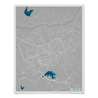 Tirana City Map Poster