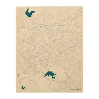 Tirana City Map Wood Print