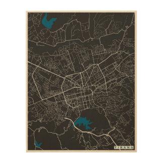 Tirana City Map Wood Wall Art