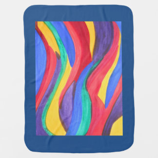 Tiras abstractas del arco iris de la acuarela mantas de bebé