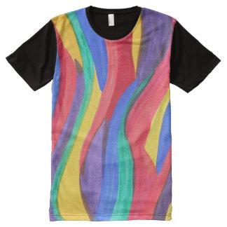 Tiras abstractas del arco iris de la acuarela playeras con estampado integral