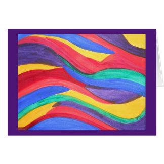 Tiras abstractas del arco iris de la acuarela tarjeta de felicitación