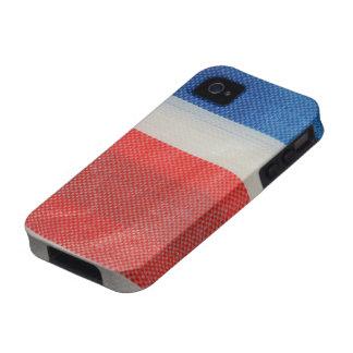 Tiras blancas rojas del azul del vintage de Hong Vibe iPhone 4 Fundas