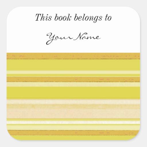 tiras de color amarillas claras pegatina cuadrada