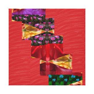 Tiras de seda rojas del ARTE de la tela: Gráficos  Lienzo Envuelto Para Galerías