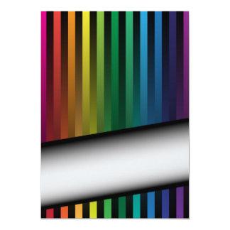 """Tiras del arco iris invitación 5"""" x 7"""""""