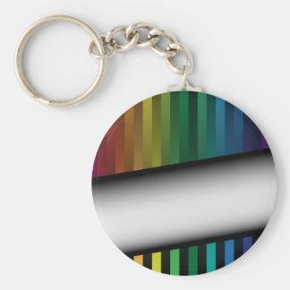 Tiras del arco iris llavero redondo tipo pin