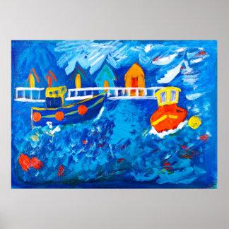 Tire de los barcos en la pintura de acrílico del m póster
