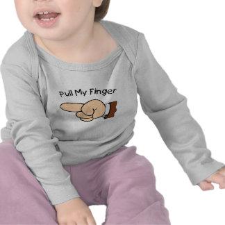 Tire de mi manga larga infantil del dedo camisetas