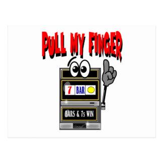 Tire de mi máquina tragaperras del dedo tarjeta postal