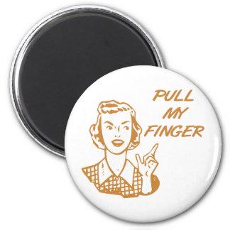 Tire de mi naranja retro del ama de casa del dedo imán redondo 5 cm