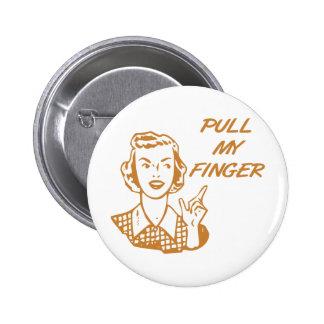 Tire de mi naranja retro del ama de casa del dedo pin