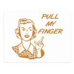 Tire de mi naranja retro del ama de casa del dedo postal