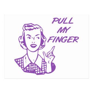 Tire de mi púrpura retra del ama de casa del dedo tarjeta postal