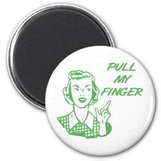 Tire de mi verde retro del ama de casa del dedo imán redondo 5 cm