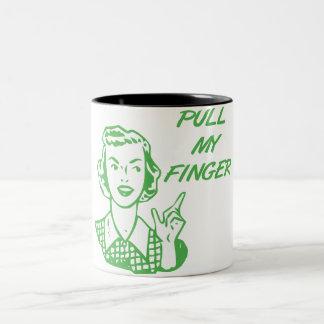 Tire de mi verde retro del ama de casa del dedo taza de dos tonos
