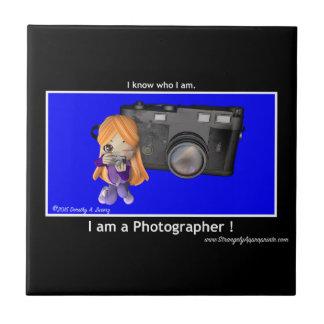 Tire la luna (el fotógrafo) azulejo cuadrado pequeño