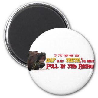 Tire refrena el caballo divertido imán redondo 5 cm