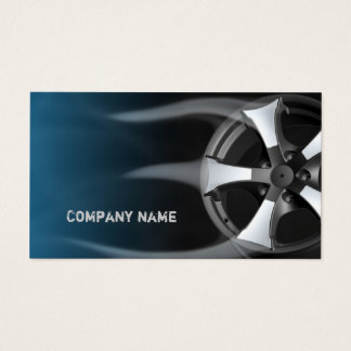 Tire Rim With Flames Blue Business Card