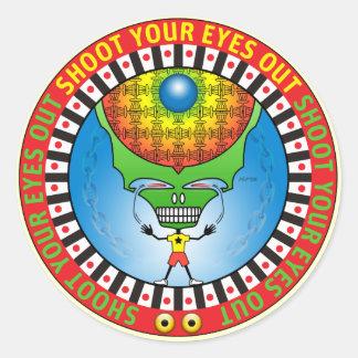 Tire sus ojos hacia fuera pegatina redonda