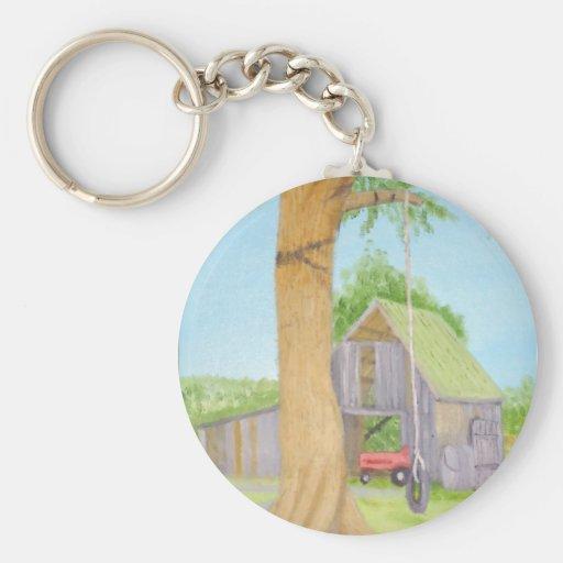 Tire Swing in Summer - Maine Basic Round Button Keychain