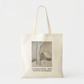 Tire Swing in Winter - Maine Budget Tote Bag