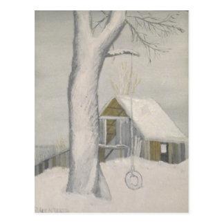 Tire Swing in Winter - Maine Postcard